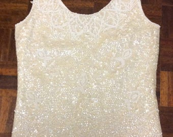 1960s ivory beaded and sequinned top M