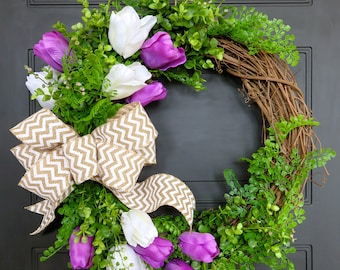 Spring Wreath, Spring Wreath for Front Door, Spring Wreaths, Boxwood Wreath, Wreaths for Dark Door, Greenery Wreath, Tulip Wreath, Grapevine