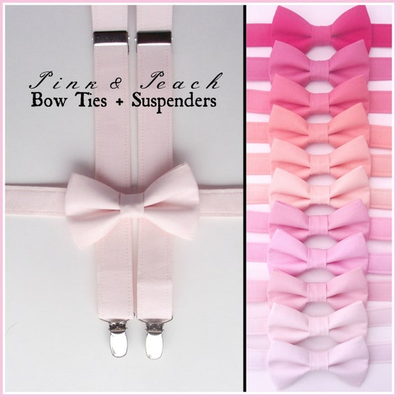 Pink Bow Tie And Suspenders Set Blush Peach Peony Fuchsia