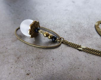 Necklace secret, black and clear glass beads.