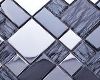 Metallic Backsplash Tiles Silver Stainless Steel Metal and Glass Blend Mosaic Sheets Bathroom Shower Wall Decor