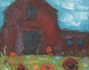 "Original painting ""Red Barn & Poppies"""