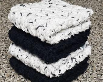 Crochet dishcloths dishrags washcloths Black & White Dish cloths Set of 4 Cotton Dish cloths Housewarming Gift Wedding Gift