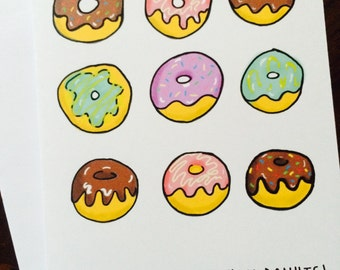 Donut Birthday Card, Doughnut Birthday Card, I love you more than donuts,recycled paper, comes with envelope and seal
