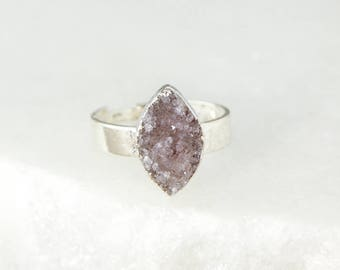 Silver Druzy Leaf Ring - Purple and Brown Druzy - Choose Your Ring, Last Ones Left