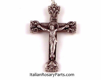 Squared End Tulip Design Rosary Crucifix Pendant | Italian Rosary Parts Religious Supply