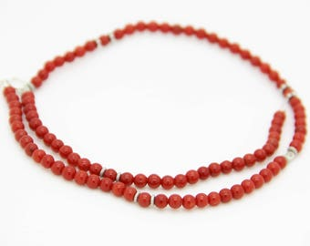 Red coral necklace Corsica 1st choice and Sterling Silver (c503)