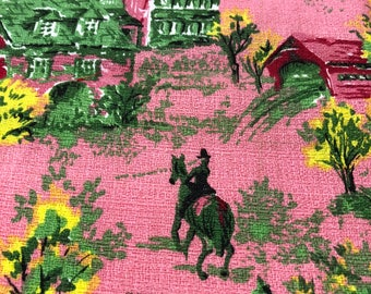 Vintage Fabric Remnant 1/2 Yard NOS Dead Stock cut from the bolt Toile Barkcloth Farm Scene pink red green yellow homestead horse carriage