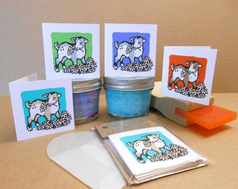 Baby Goat hand-silkscreened mini notecards / gift cards / Set of 4