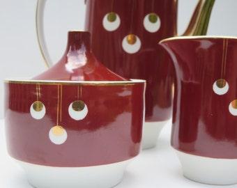 VINTAGE TEA SERVICE, Tea set, Teapot, Burgundy, Poland ceramic, Creamer and sugar, Mid century, Drinkware set, Gift ideas