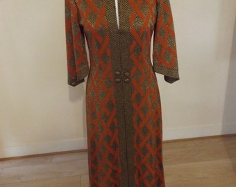 vintage 70s maxi dress miss jeannie gold and orange lurex small 8 10