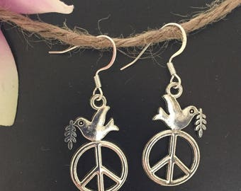Silver Peace Dove Earrings Silver Dove Earrings Olive Branch Peace Sign Jewelry Silver Dove Silver Peace Sign Charm Peace Sign Jewelry