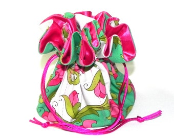 Jewelry Drawstring Travel Bag - Organizer bridal Pouch - White, green and pink floral