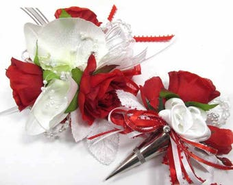 Red, White and Silver Orchid Wrist Corsage and Boutonniere Prom Set with Pearls and Rhinestones