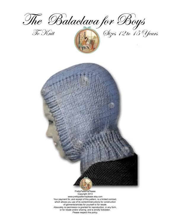 Boys Balaclava Hoodie Vintage Knitting Pattern Pdf Instant