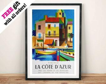 LA COTE D'AZUR: Vintage Travel Poster, French Holiday Print