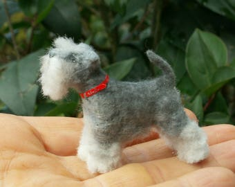 Dollhouse  Miniature Schnauzer Dog, Pet for Dolls1:12 scale, Collectible Animals, Scale one inch, Scale miniature