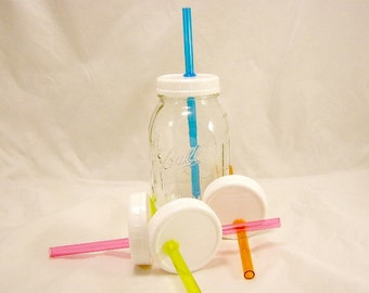 4 pack Reusable SMOOTHIE Small Regular Mouth Ball Mason Jar Plastic Lids With Color Smoothie Straw Earth Day Adult Sippy Travel Cup