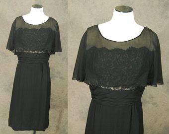 vintage 50s Silk Wiggle Dress - 1950s Lace Illusion Evening Dress - 1950s Black Silk Chiffon Cape Cocktail Dress Sz M