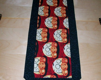 Halloween Table Runner - Boo Pumpkins - black orange red yellow green centerpiece topper or scarf
