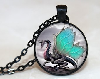 Winged Dragon Pendant, Necklace or Key Chain - Flying Dragon, Dragon Necklace, Dragon Keychain