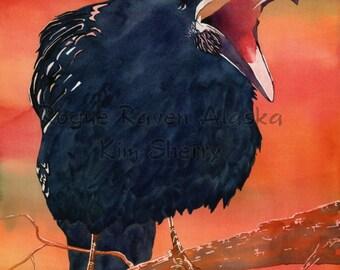 Wake Up! - Print of a sceaming raven with strange, orange skies