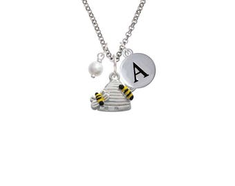 Bee Hive Necklace - Pebble Initial & Crystal Color - Silver Plated Beehive Jewelry, C1022- Necklace-Bangle-Bracelet