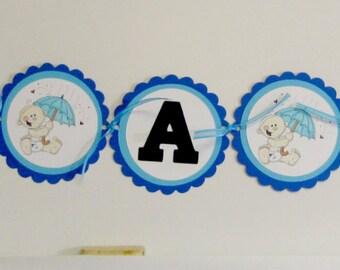 Baby boy shower banner, baby shower banner, It's a boy baby banner, baby banner in blue