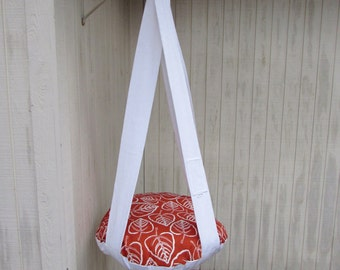 Cat Bed, Rust & White Leaf Print, Single Hanging Cat Bed, Kitty Cloud, Gift, Cat Tree, Pet Furniture