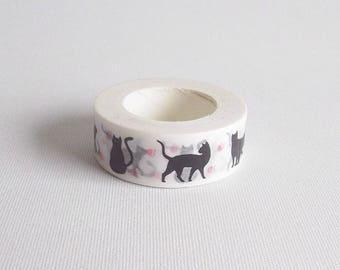 Black cat washi tape, Animal washi tape, Cat stationery, Kitty washi, Animal stationery, Masking tape