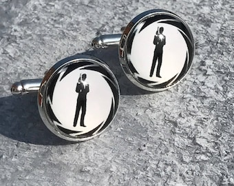 James Bond cabachon Cufflinks, James Bond gifts, James Bond cufflinks, Mens gifts, Silver cufflinks, Father's Day Gift Ideas