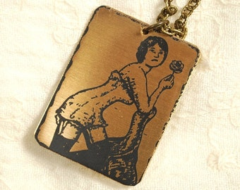 Rose Necklace - Etched Fused Glass on Bronze Jewelry