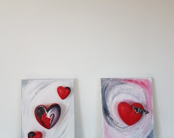Abstract Art Painting Hearts Love Set Modern Luxury Art Home Office Decor Perfect Gift Small Canvas