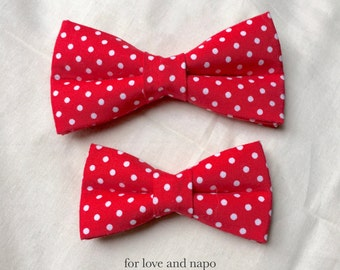dog and cat bow tie – red polka dot