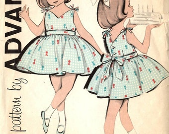 Advance 9802 Girl's Party Dress Sewing Pattern Child Size 5
