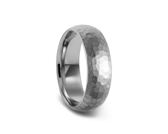 Hammered 4mm 5mm 6mm Stainless Steel Wedding Band Comfort Fit Dome