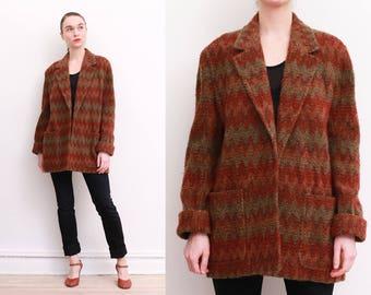 80s Southwestern Bouclé Knit Blazer / M