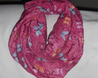 Pink with butterflies infinity scarf
