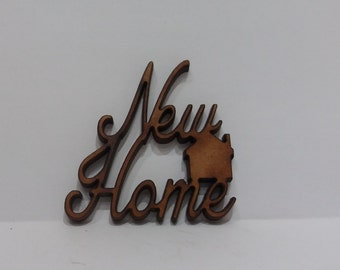 New Home - pack of wooden craft shapes for card making, embellishments, scrapbooking, crafting etc.