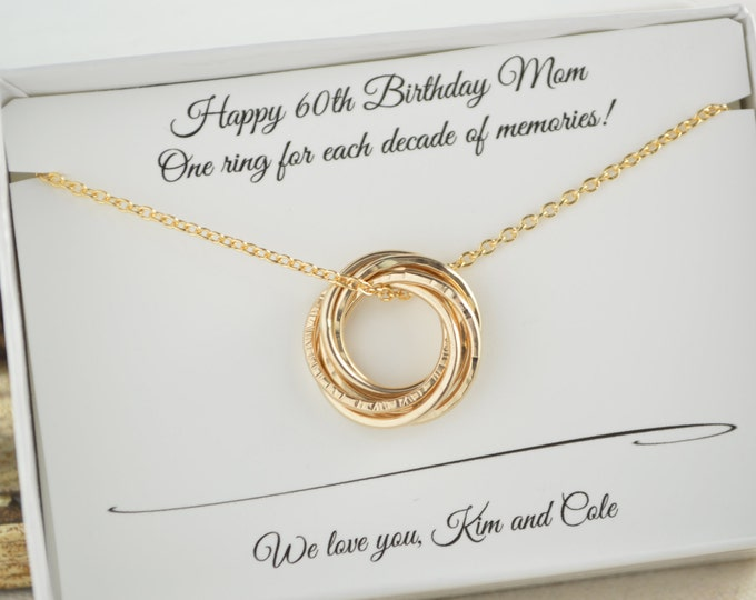 60th Birthday for mom, 6 Gold filled rings, 60th Birthday gift for women, Petite gold necklace,6 Russian necklace, 6th Anniversary gift