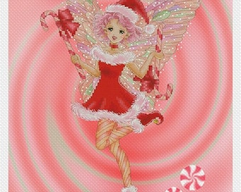 Cross stitch Chart Pattern - Peppermint Pixie by Mitzi Sato-Wiuff
