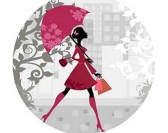 cabochon 18mm, pink umbrella, woman