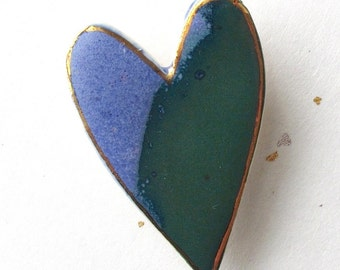 Heart Pin. Blue & Green. Clay Brooch. Ceramic. 22K Gold Edging. Cobalt Blue. Teal Green. Blue-Green. Emerald. Denim. Statement Brooch
