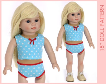 18 inch doll pattern, 18 inch doll clothes patterns, Doll Sewing Pattern, Doll Patterns, Sewing doll clothes, DOLL UNDERWEAR