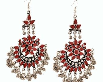 Afghani earrings, Kuchi Earrings, Tribal jewelry,Gypsy,Vintage,Bohemian, Banjara, Ethnic, Bollywood, Afghani Jewelry,Oxidized Silver Jewelry