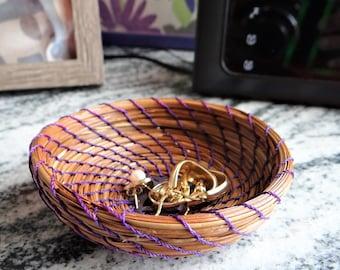 Purple Basket Purple Trinket Basket Purple Pine Needle Trinket Basket For Her Basket For Teen Trinket Basket