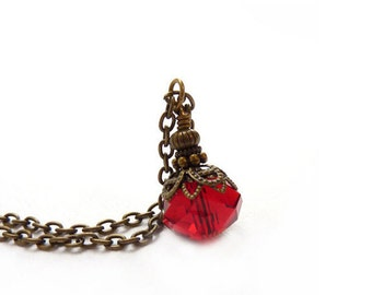 Ruby Red Pendant - Antique Bronze Chain -  Wire-Wrapped Charm Pendant - July Birthstone - Boho Necklace