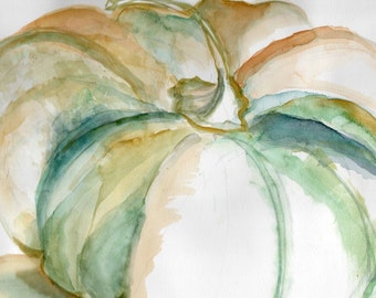 pumpkin,watercolor,ochre, green,card, blank card, print from original