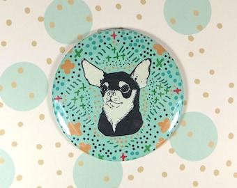 Chihuahua dog magnet - refrigerator magnet - chichi fridge magnet - floral pattern background magnet - turquoise magnet - large dog magnet