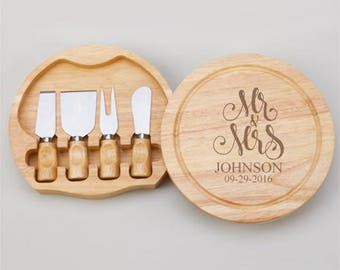 Mr and Mrs Personalized Gourmet 5pc. Cheese Board Set - JM4989968-U